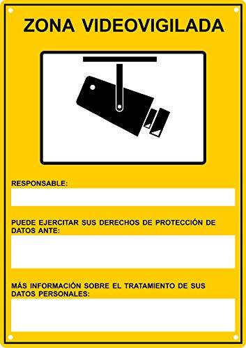tualarmasincuotas.es Cartel Videovigilancia Rgpd   Placa METÁLICA Zona Videovigilada Interior/Exterior Premium y Ultra-Resistente, Ultimo Modelo Homologado, 30x21 cm (a4)