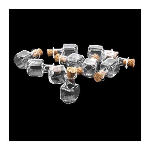 KOLOSM Botella 10 unids en Forma de Mini Botellas de Vidrio pequeñas con tapón de Corcho Claro Tiny vials tarros Mensaje Weddings Deseo favores (Color : A)