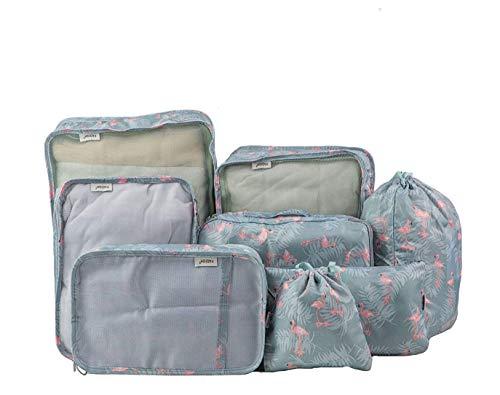 (FADISH)アレンジケース 8点セット 収納ポーチ トラベルポーチ 旅行用 防水軽量 便利グッズ スーツケース整理 衣類収納 靴バッグ 巾着袋 家庭収納 (グレーフラミンゴ)