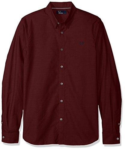 Fred Perry uomo camicia manica lunga M3523 799 XL Bordeaux