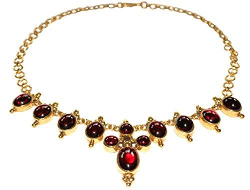 Kette Collier leuchtende rote Granat-Steine nach Renaissance-Vorbild Silber vergoldet Handarbeit Unikat Italien Luxus Antik-Look Vintage Retro hochwertig