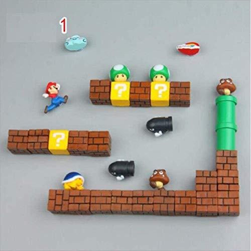 ZP-MIN Imanes de nevera Super Marios Siuts Green Mario Magn, ladrillos, balas, buzón de correo, juguetes para niños cumpleaños decoración del hogar, traje 9-Suit 1