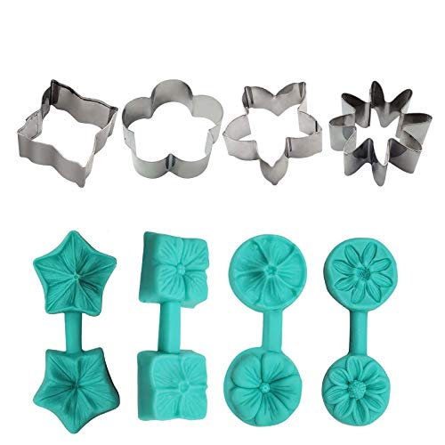 Flower Sugar Art Mold Silicone Molds Cake Handmade Baking Tools DIY Tool Flower Cupcake Toppers Fondant Sugar Craft Tools Gumpaste Chocolate Moulds (4PC)