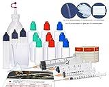 SET COMPLETO - Il kit di partenza per la miscelazione di liquidi E- Liquid Mix-Starter Kit composto da 1 flacone di miscelazione e 3x10ml, 3x30ml 3x50ml e 3x100ml di plastica LDPE con 30 etichette. PRECISIONE - 4 siringhe (1ml, 10ml, 20ml, 20ml e 60m...
