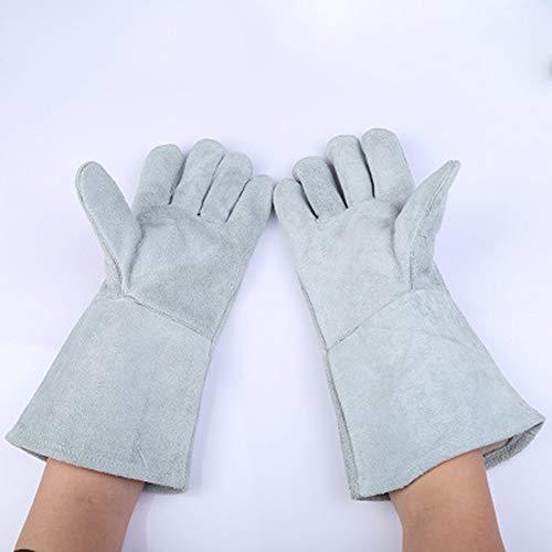 TYXHZL lederen lasconstructie handschoenen, hittebestendige steekvastheid/perfecte blokkering hitte en bescherming hand lichtgrijs