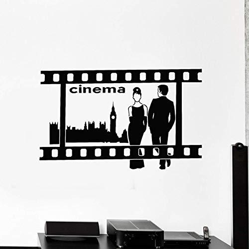 Wall Decal Cinema Tv Movie Film Media Room Interior Decorating London Style Vinyl Window Sticker Art Romantic Couple Mural 42X67Cm