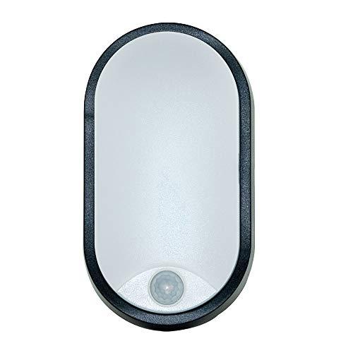 LUCECO leistungsstarke 10W LED Aussenleuchte oval, 700lm, 4000K, IP54-geschützt mit Bewegungsmelder, EBEO10P40-01, Polycarbonat 10 W, Schwarz 212 x 119 x 60, 5mm