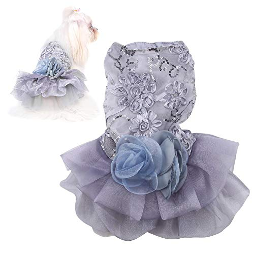 Pet Dress, Summer Sequin Princess Bubble Skirt Wedding Costume Outfit Apparel voor Doggy (M-Grey)