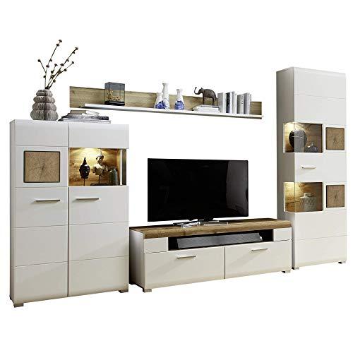 Fun Plus Wohnwand Komplett-Set mit schönen Hirnholz-Applikationen & Eiche Dekor - Moderne Schrankwand für Ihr Wohnzimmer - 325 x 205 x 47 cm (B/H/T)