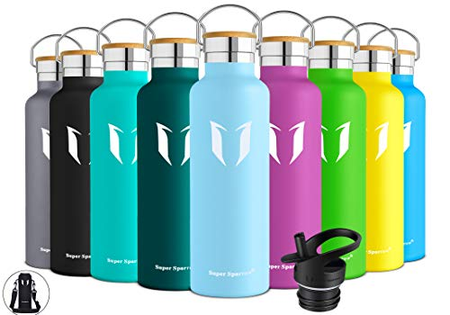 Super Sparrow Trinkflasche Edelstahl Wasserflasche - 750ml - Isolier Flasche mit Perfekte Thermosflasche für das Laufen, Fitness, Yoga, Im Freien und Camping | Frei von BPA