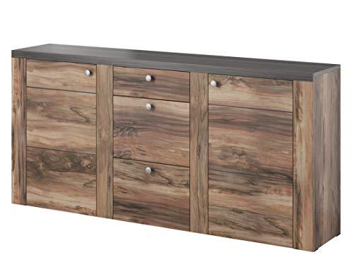 Mirjan24 Kommode Sideboard Larona LA25 mit 3 Schubladen, Highboard, Anrichte, Naturtöne, Mehrzweckschrank, Wohnzimmerschrank, Schrank, Wohnzimmer Set (Nuss Satin/Touchwood)