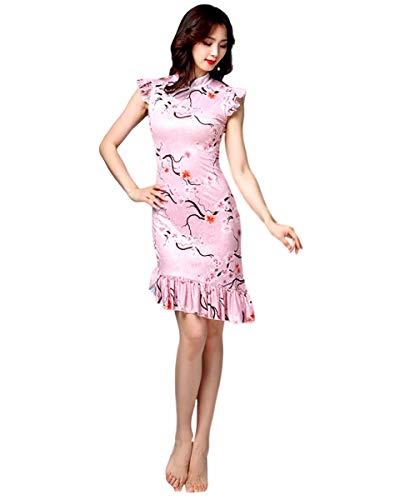 Grouptap Chinesische Mandarin asiatische Seide Frauen Mädchen Blumenspitze Phantasie Qipao Cheongsam Tanzkleid Kostüm Rosa Damen ärmellos (Rosa, EU 34-36, 40-50 kg)