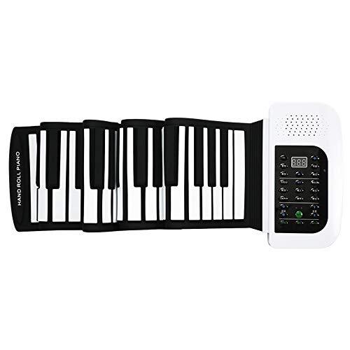 IG 88 Teclas Rollo de la Mano Del Teclado de Piano Engrosamiento Versión Profesional Principiantes Práctica Portátil Plegable Piano Electrónico,Blanco,Un tamaño