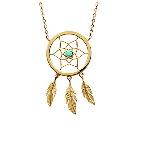 Les Tresors De Lily [R2927] - Gold Plated Necklace 'Navajos' Turquoise Gold (Dreamcatcher Catches Dreams) - 35x20 mm.