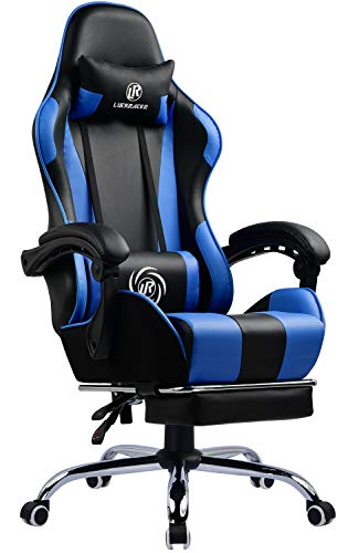 LUCKRACER Gaming Chair Massage With Footrest Ergonomic Office Chair With Massage Lumbar Pillow 360° Swivel & 150° Reclining High Back Support Height Adjustable Heavy Duty Computer Chair - Blue