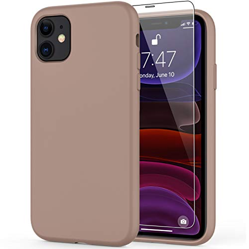 DEENAKIN iPhone 11 Case with Screen Protector,Soft Liquid Silicone Gel Rubber Bumper Cover,Slim Fit Shockproof Protective Phone Case for iPhone 11 6.1' Light Brown