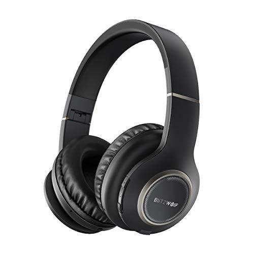 Bluetooth Kopfhörer Over-Ear ,BlitzWolf Wireless Faltbarer Ohrhörer drahtlose Headset mit 20 Stunden Spielzeit, Hi-Fi Stereo und Physical Noise Cancelling für Smartphone TV PC Tablet (Schwarz)