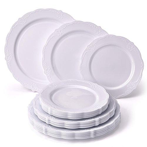 Silver Spoons Servizio da Tavola Monouso per Feste, Bianco