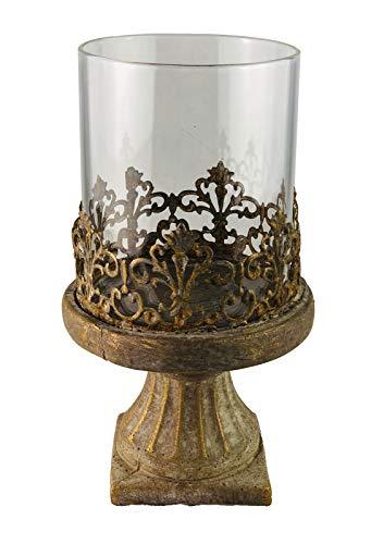 PARTS4LIVING Zement Windlicht Kerzenhalter Kerzenständer mit Glaseinsatz Shabby Chic Bronze Gold 13 x 22 cm