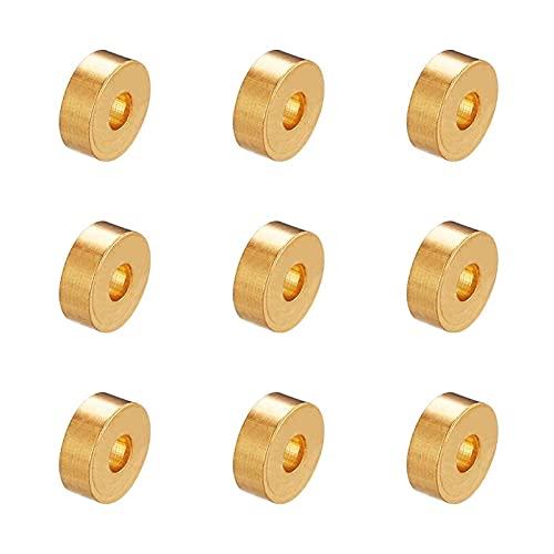 WanXingY PandaHall 50pcs / lotes de Perlas de latón de Oro de 6x2mm RONDELLE SPACEING Agujeros de Cuentas: 2mm para el Collar de Estiramiento Pulsera Bricolaje DIY Joyería Creativa