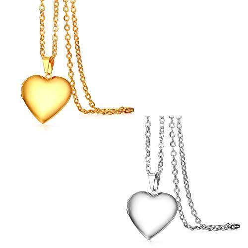 JewelryWe sieraden 2 stuks roestvrij staal foto medaillon om te openen foto´s amulet gepolijst hart hanger ketting met hanger voor dames meisjes, zilver goud