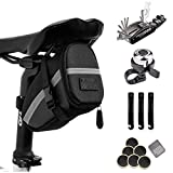 Bike Bag, Water-Resistant Bicycle Storage Bag Triangle Saddle Frame Pouch, Cycling Accessories Pack with Plenty of Room for Phone, Wallet, Keys, Tools (black Bicycle Saddle Bag with Repair Set)