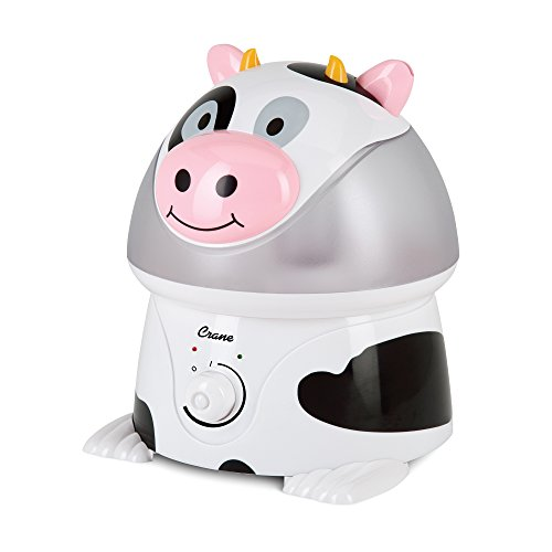 Crane Adorables Ultrasonic Cool Mist Humidifier, Filter Free, 1 Gallon, 500 Sq Ft Coverage, Whisper Quite, Air Humidifier for Plants Home Bedroom Baby Nursery and Office, Cow
