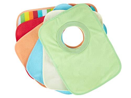 Bieco Baby Schlupf Lätzchen, 6er Pack ohne Klettverschluss in tollen Farben für Junge und Mädchen, Spucktücher Baby, doppelseitig mit außen Baumwolle, abwaschbar und wasserdicht, Kinderlätzchen