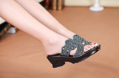 SCLOTHS Tongs Femme Chaussures été Pente antidérapant Similicuir épais Bas d'usure extérieure