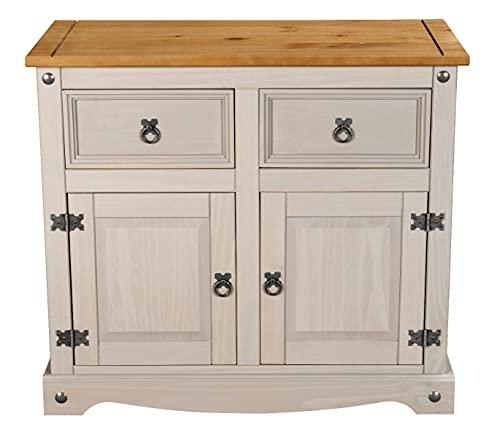 Corona Grey 2 Door 2 Drawer Sideboard, Mexican Solid Pine, Large