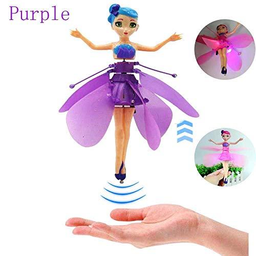Whale city Hubschrauber Kinderspielzeug Magisch Fliegende Fee Puppe, elektronische Induktion Fliegende kleine Fee Haus Magic Gift (Lila)