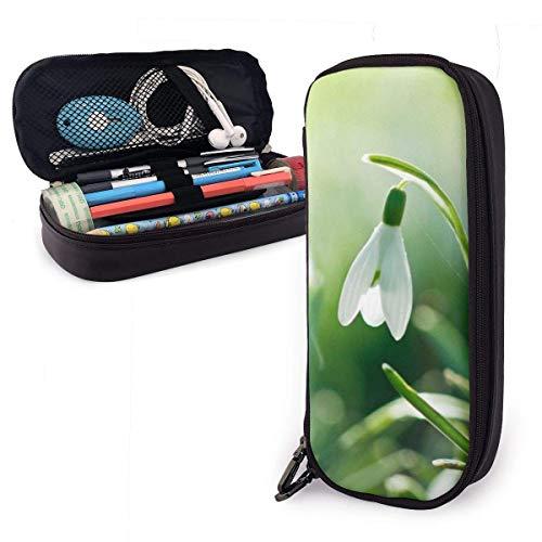 Wunderschönes weißes Schneeglöckchen PU-Federmäppchen aus Leder, große Stifttasche, langlebige Studenten-Schreibwaren-Organizer mit doppeltem Reißverschluss