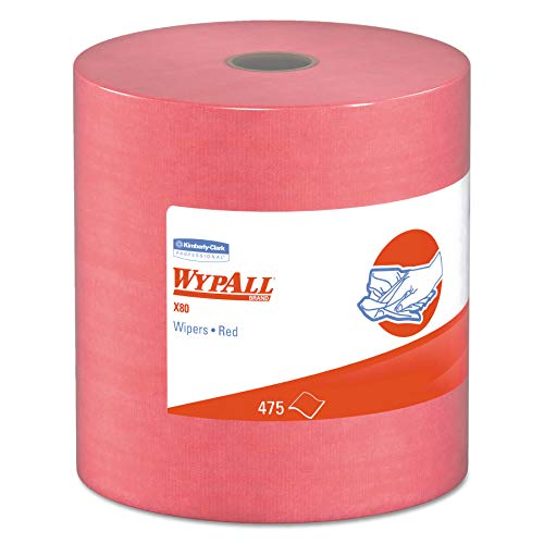 WypAll 41055 X80 Cloths, HYDROKNIT, Jumbo Roll, 12 1/2 x 13 2/5, Red, 475 Wipers/Roll