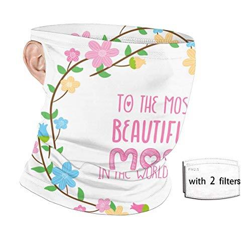 ENZOOIHUI Flor de Color de Dibujos Animados Guirnalda Mamá Regalo Protección UV Sin Costuras Bucles de Oreja Bufanda de pañuelo con 2 filtros Polaina de Cuello Reutilizable