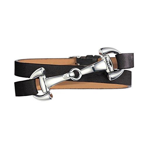 DIMACCI Trensen-Armband Kalbsleder | Favorit Kollektion in Schwarz Silber-Optik aus Edelstahl | Schmuck für Reiter-Frauen in Geschenk-Box