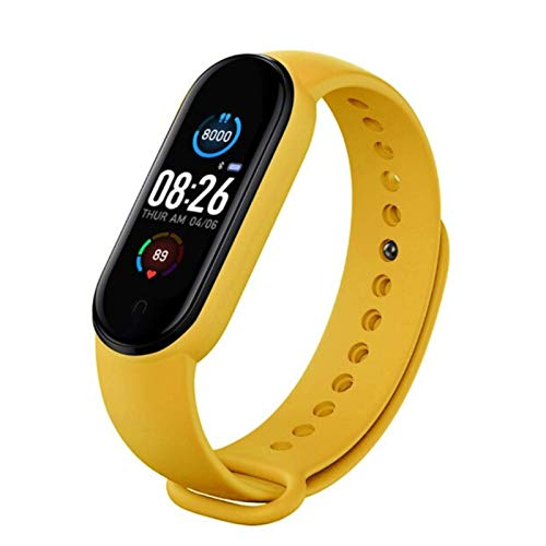 UM Fitness Tracker 2020, IP67 Waterproof, Smart Bracelet with Heart Rate Monitor, Calories/Step Counter Sleep Tracker, Health Sport Watch for Men Women Kids (Yellow)