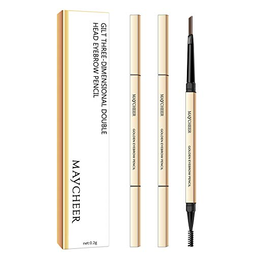 Ownest 2 Pcs Gloden Slim Eyebrow Pen,Waterproof Non-Blooming Eyebrow Pencil Eye Makeup Fine Skinny Eyebrow Pencil Dual-Ended Eyebrow Pen-Gray Brown