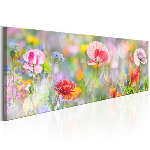 decomonkey Bilder Blumen Mohnblumen 120x40 cm 1 Teilig Leinwandbilder Bild auf Leinwand Vlies Wandbild Kunstdruck Wanddeko Wand Wohnzimmer Wanddekoration Deko bunt