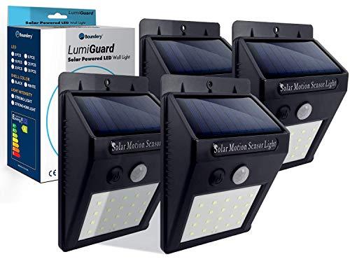 LumiGuard Solar Motion Sensor Light Outdoor - 200lm LED Wireless Waterproof Motion Sensor Light Ourdoor - Solar Lights Outdoor Motion Sensor for Yard, Pool Deck, Garden, Stairs (4 Pack)