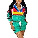 EOSIEDUR Women 2 Piece Outfits Tracksuit Windbreaker Pullover Jacket Crop Top Hoodies Pants Set Green