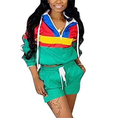 EOSIEDUR Women 2 Piece Outfits Tracksuit Windbreaker Pullover Jacket Crop Top Hoodies Pants Set
