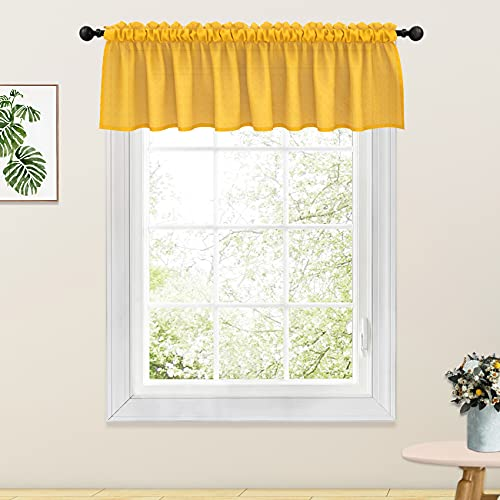 Yellow Valance Curtains Living Room Linen Textured 18 inch Length Bedroom Window Curtain Valance 1 Panel Rod Pocket