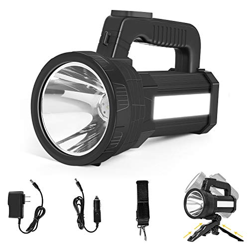Sanlinkee Rechargeable Spotlight 6000 Lumens Super Bright amp Waterproof Handheld LED Flashlight with 10000mAh Battery amp USB Rechargeable Foldable Tripod Searchlight for Marine Outdoor Home Emergency