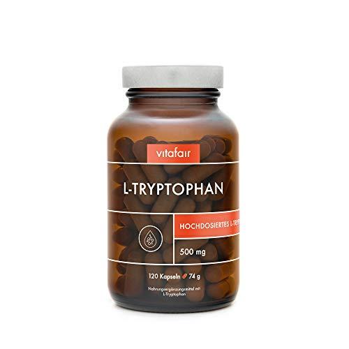 VITAFAIR L-Tryptophan 500mg - Vegan, Braunglas, Ohne Zusatzstoffe, German Quality - Vorstufe von Serotonin und Melatonin, 30 Minuten vor dem Schlaf einnehmen - Ohne Magnesiumstearat - 120 Kapseln