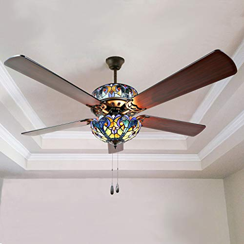 Tiffany Galss Design Style 52 Inch Width Stained Glass Halston LED Ceiling Fan, Blue
