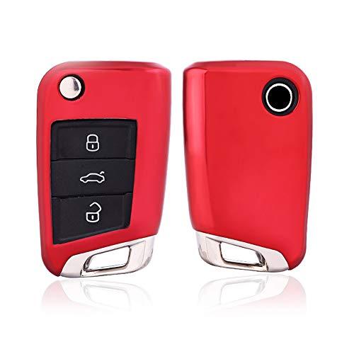 KAKTUS Autoschlüssel Schutzhülle für Volkswagen/Skoda/Seat (3 Tasten Klappschlüssel Version) - B