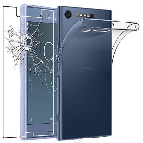 ebestStar - Cover Compatibile con Sony Xperia XZ1, XZ1 Dual F8342 Custodia Trasparente Silicone Gel TPU Protezione Morbida, Trasparente + Vetro Temperato [Apparecchio: 148 x 73.4 x 7.4mm, 5.2'']