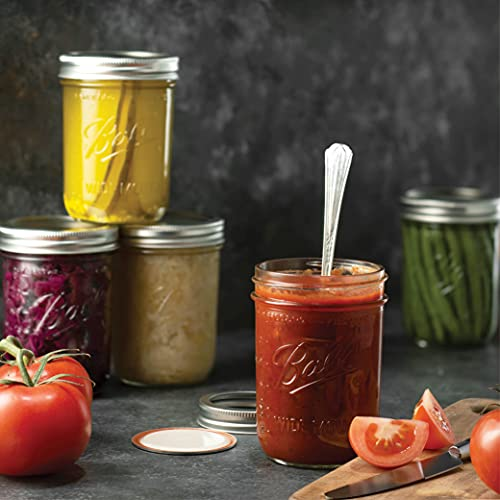 Ball Wide Mouth Mason Jars (16 oz/Capacity) [6 Pack] with Airtight lids and Bands