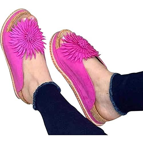 WBF Mujeres Elegantes Sandalias de Flores Slip en Zapatillas de Cuero de Gamuza, Espadrille Verano de Punta de Punta Abierta Flip Flop