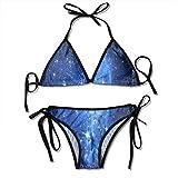 Bikini, Blue Galaxy Night Sky Stars String 2 Piezas Halter Bikini Set, Traje de baño de Playa con patrón Favorable para mochilero